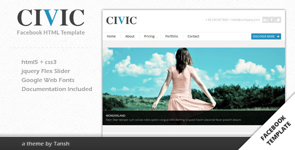 Civic Corporate Facebook Template - Corporate Site Templates