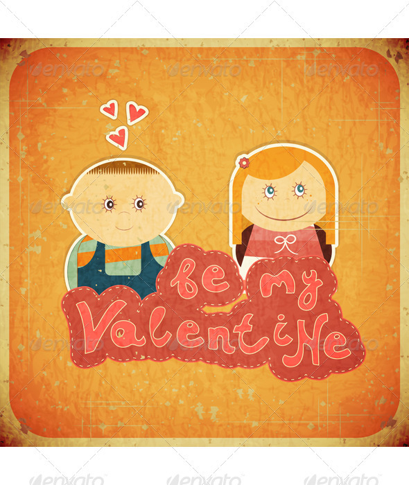 GraphicRiver Vintage Design Valentines Day Card 3532862