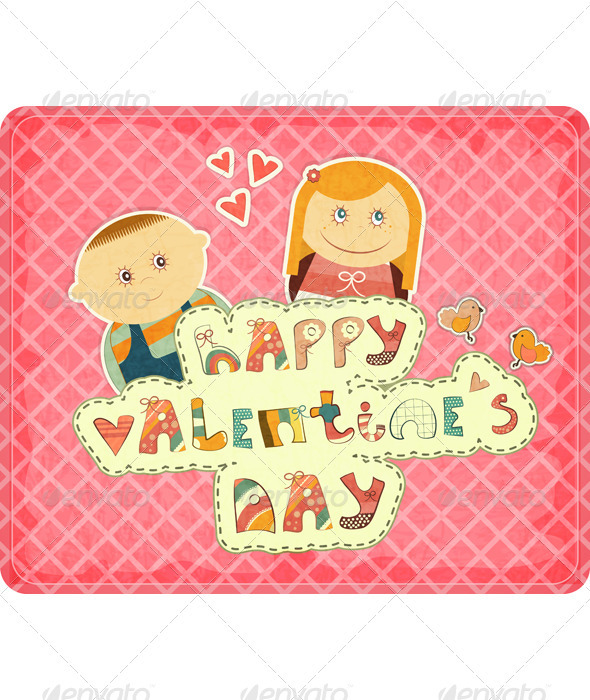 GraphicRiver Vintage Design Valentines Day Card 3532864