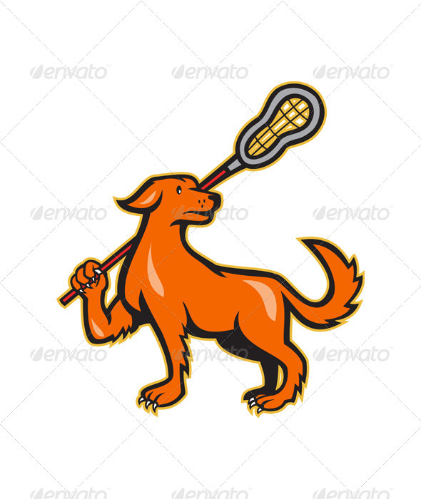 GraphicRiver Dog With Lacrosse Stick Side View 3533413