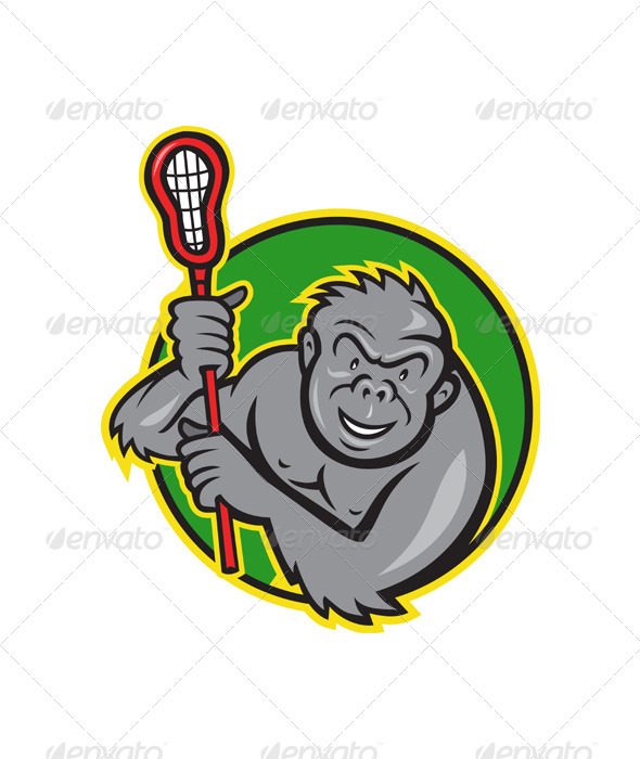 GraphicRiver Gorilla Ape With Lacrosse Stick Cartoon 3533418
