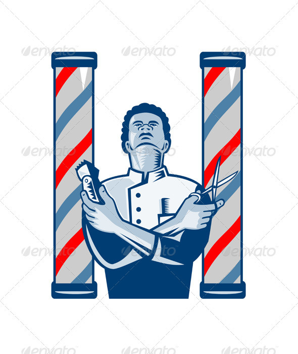 GraphicRiver Barber With Pole Hair Clipper and Scissors Retro 3533433
