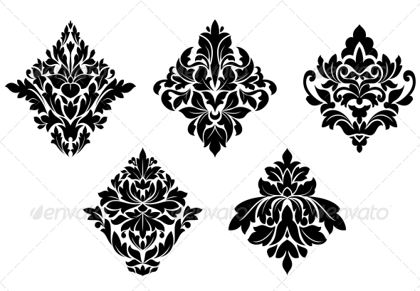GraphicRiver Set of Vintage Floral Patterns and Embellishments 3533434