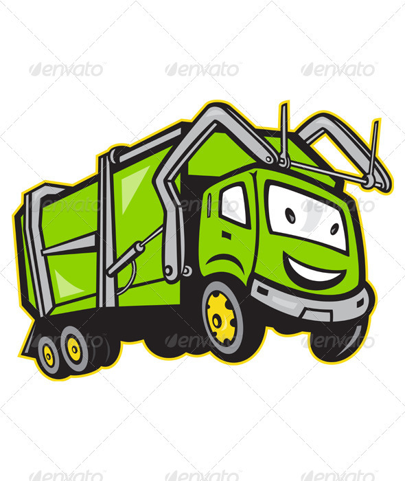 GraphicRiver Garbage Rubbish Truck Cartoon 3533436
