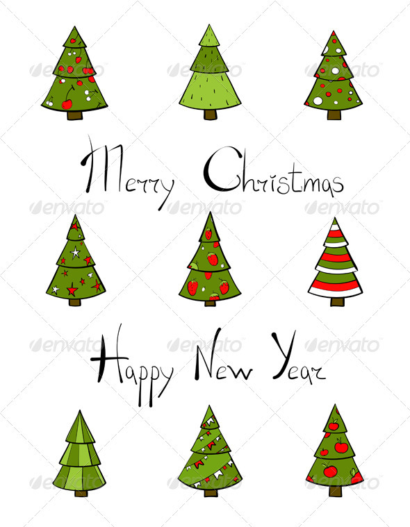 GraphicRiver Christmas Trees New Year Lettering 3533649