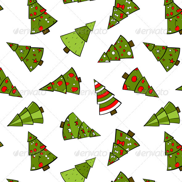 GraphicRiver Christmas Trees Seamless Pattern 3533679