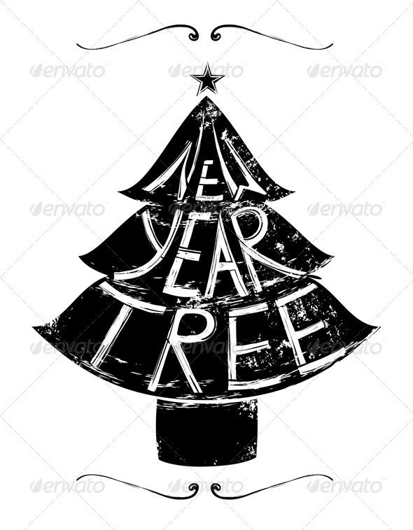 New Year Tree Retro Lettering