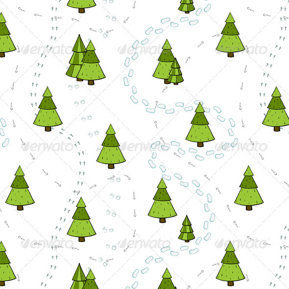 GraphicRiver Christmas Trees and Tracks Seamless Pattern 3533691