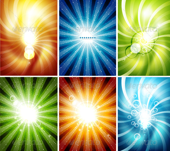 GraphicRiver Shiny Vector Rays Backgrounds 3533805