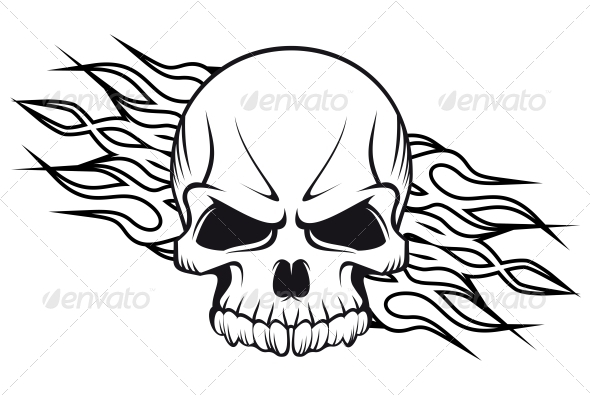 GraphicRiver Human Skull with Flames 3533834