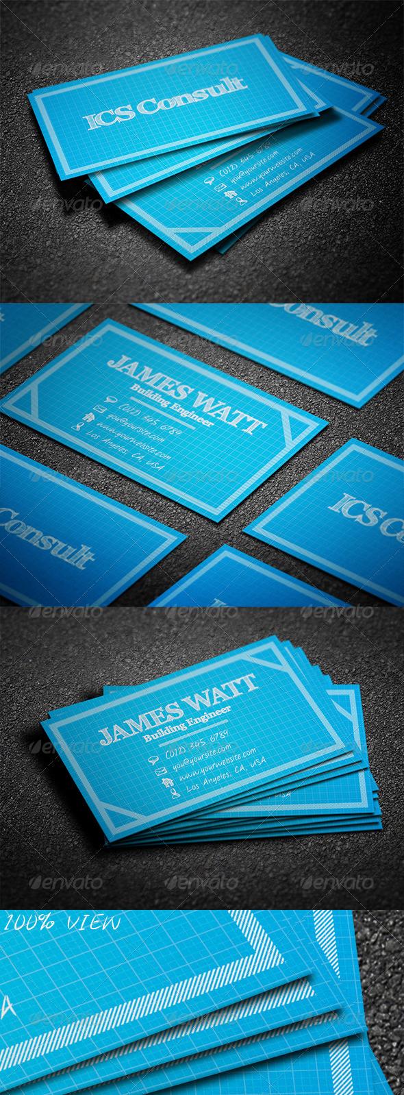 GraphicRiver BluePrint Business Card 3534689