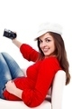 Retro girl with photo camera - PhotoDune Item for Sale
