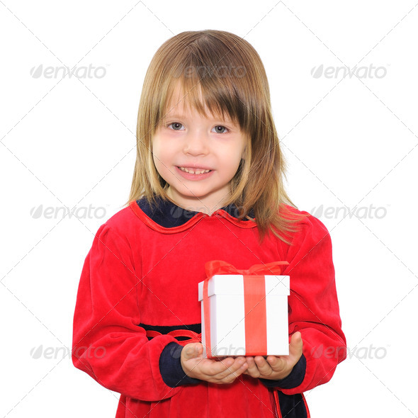 happy child girl holding gift box - Stock Photo - Images