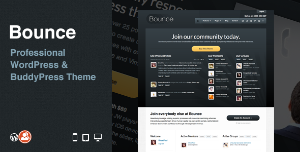 ThemeForest Bounce Professional WordPress & BuddyPress Theme 2324726