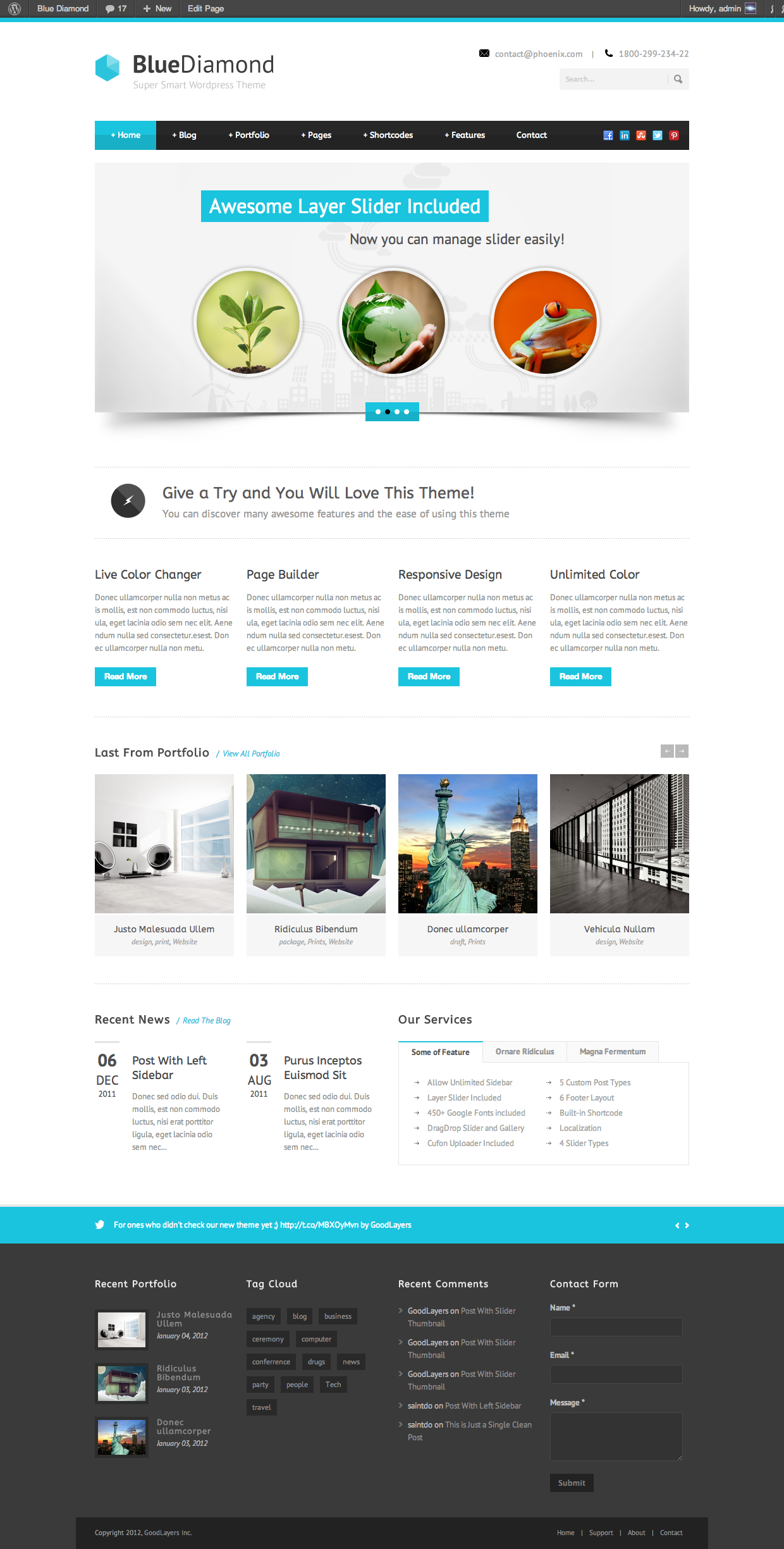 Blue Diamond - Responsive Corporate WP Theme - index page with color changed
