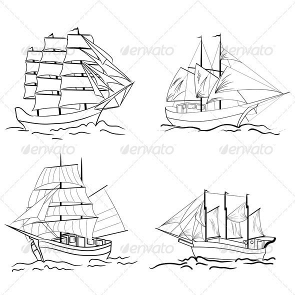 GraphicRiver Set of Sailing Vessel Sketches 3537478