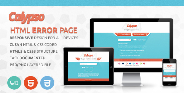 ThemeForest Calpyso Responsive HTML Error Page 3537714