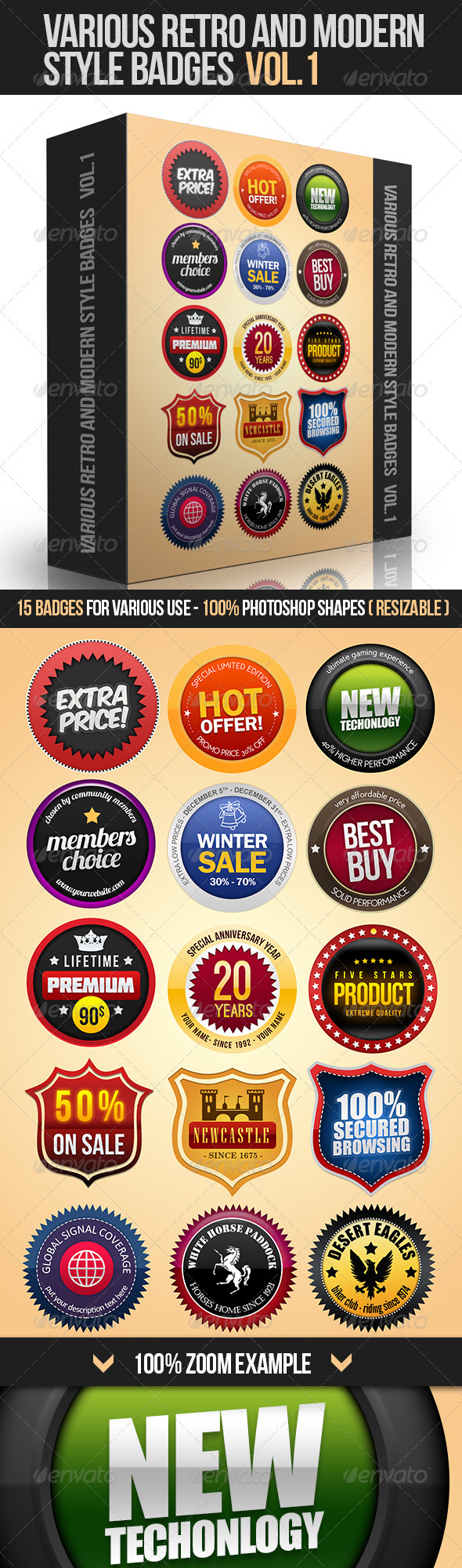 GraphicRiver Various Retro And Modern Style Badges Vol.1 3537722