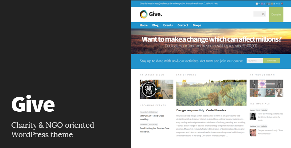ThemeForest Give Charity Responsive WordPress Theme 3517245
