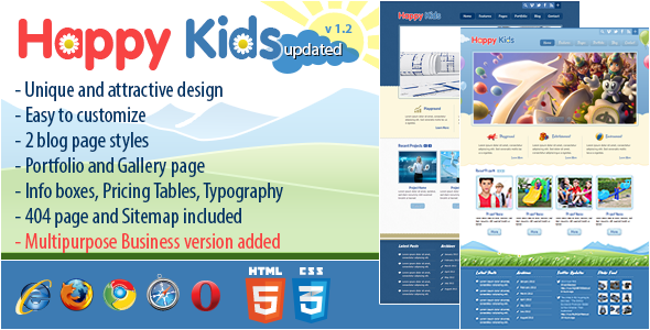 ThemeForest Happy Kids Multipurpose HTML Template 2967230