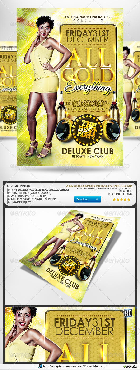 All Gold Everything Party Flyer - Clubs & Parties Events