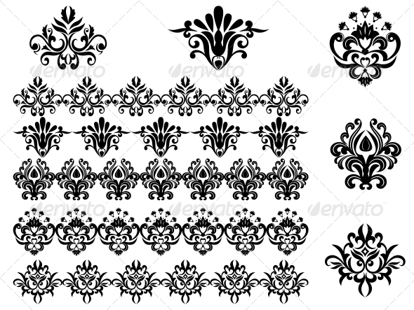 GraphicRiver Flower Patterns and Borders 3539894
