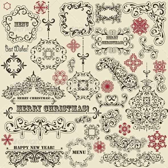 GraphicRiver Vector Vintage Holoiday Design Elements 3540333