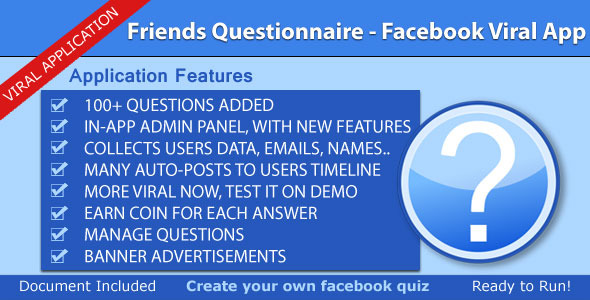 CodeCanyon Friends Questionnaire Facebook Viral App 3540398