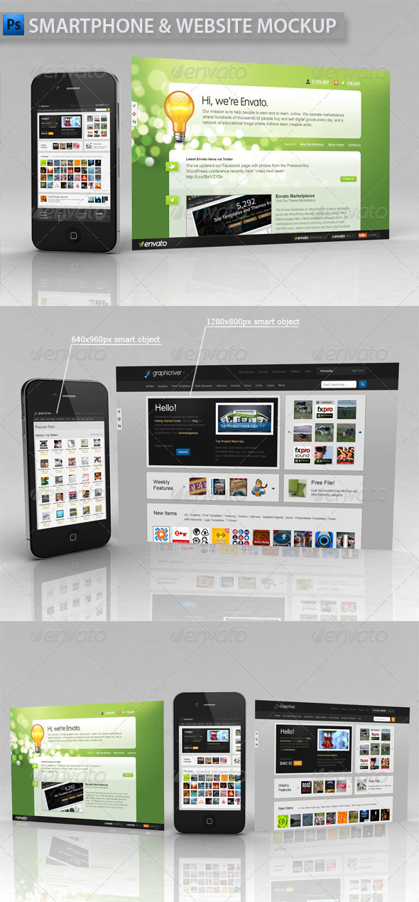 Smartphone and Website Showcase Mockup - Website Displays