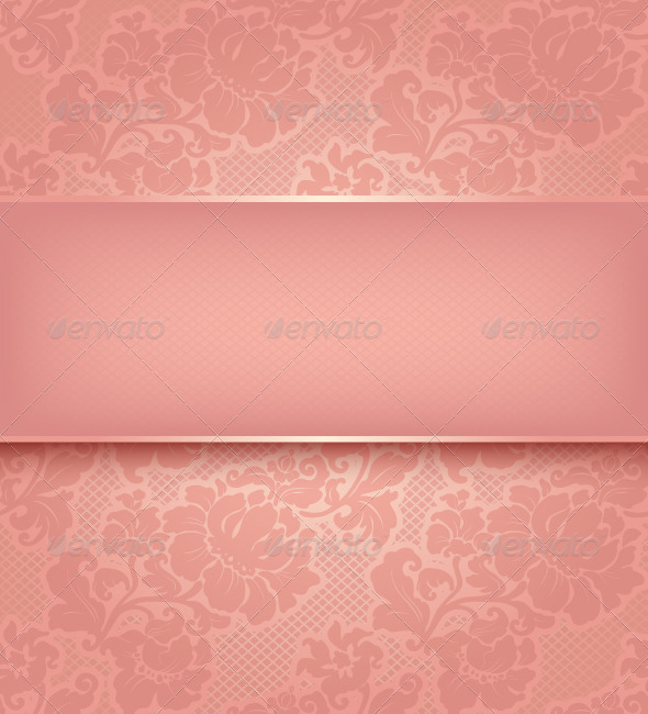GraphicRiver Lace Background Ornamental Pink Flowers 3540617