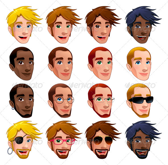 GraphicRiver Male Faces Vector Isolated Characters 3540936
