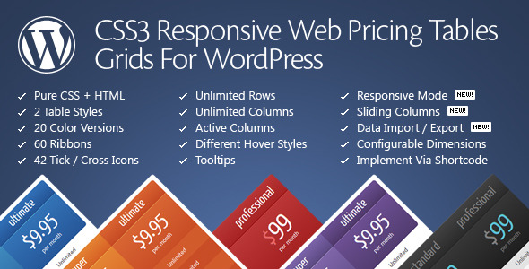 CodeCanyon CSS3 Responsive Web Pricing Tables Grids For WordPress 629172