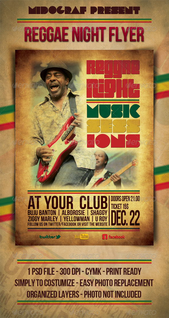 GraphicRiver Reggae Night Music Flyer 3542718