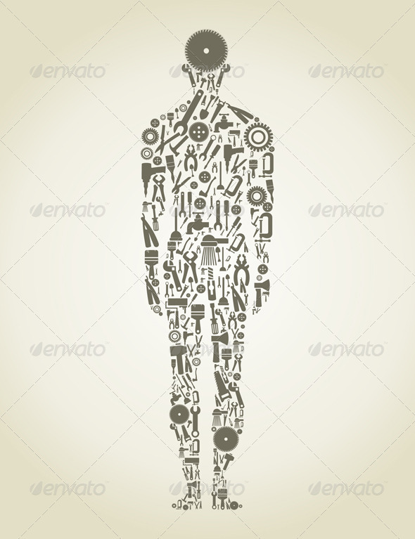 Person made of Tools - People Characters