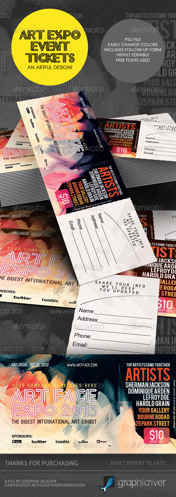 GraphicRiver Art Expo Art Show Event Tickets & Passes Template 3542861