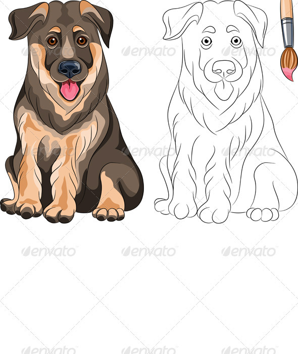 GraphicRiver Vector Coloring Book of Smiling Puppy Shepherd 3543173