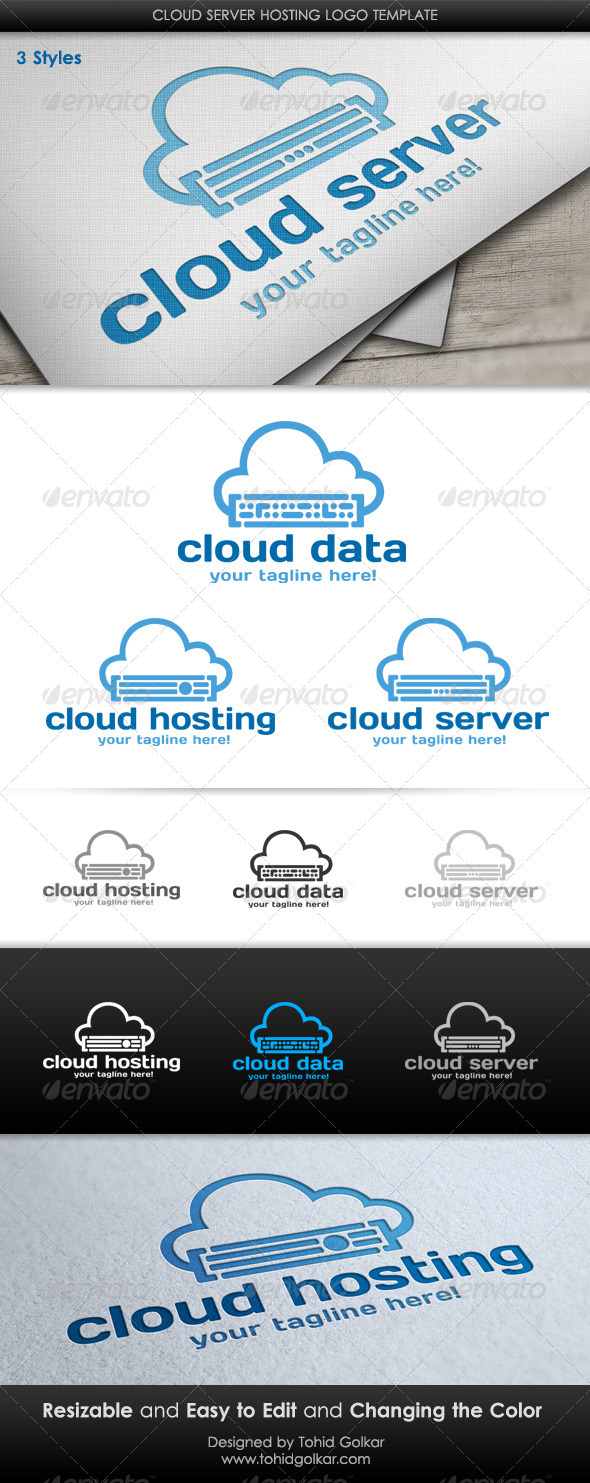 GraphicRiver Cloud Server Hosting Logo Template 3543176