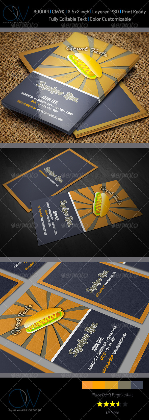 GraphicRiver Sausage Restaurant Business Card 3543402