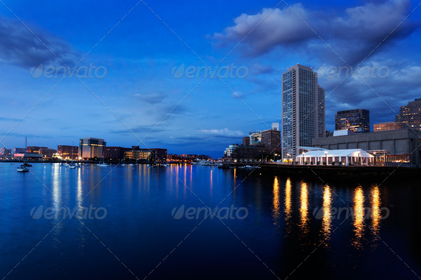 Boston Harbor before dawn - Stock Photo - Images