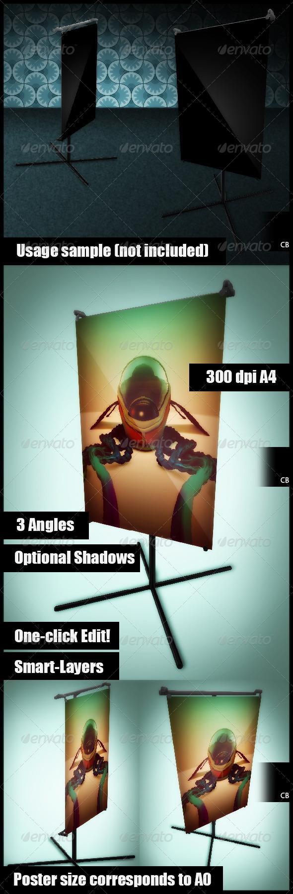 GraphicRiver Poster Holder Stand Mockup 3544000