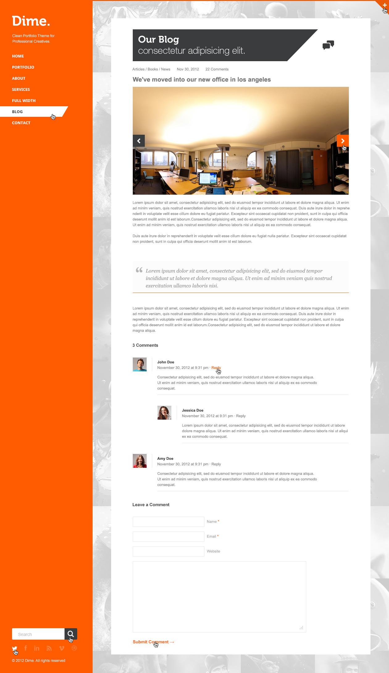 Dime - Agency / Business Portfolio PSD Template