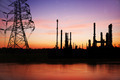 High voltage pose with petrochemical oil refinery plant - PhotoDune Item for Sale