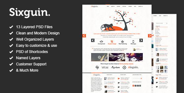 ThemeForest Sixguin Modern PSD Template 2862550
