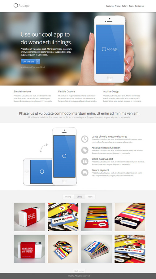 Appage - Beautiful App Landing Page - Gallery Tab