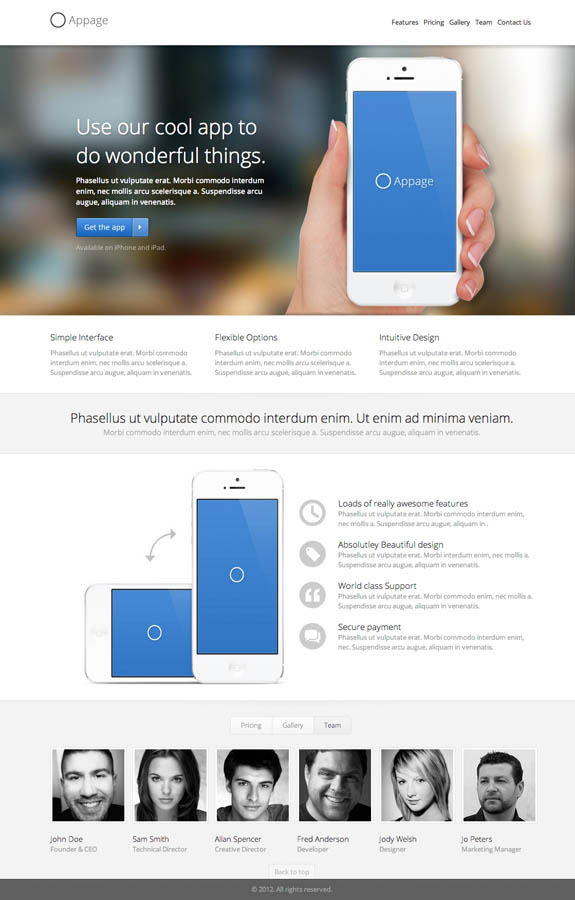 Appage - Beautiful App Landing Page - Team Tab