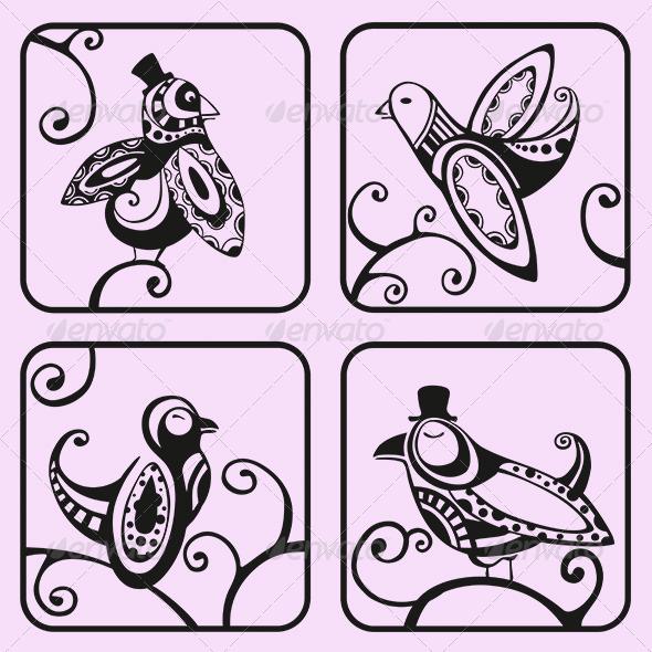 GraphicRiver Decorative Birds 3256390