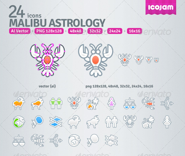 GraphicRiver 24 AI Malibu Astrology icons 3545734