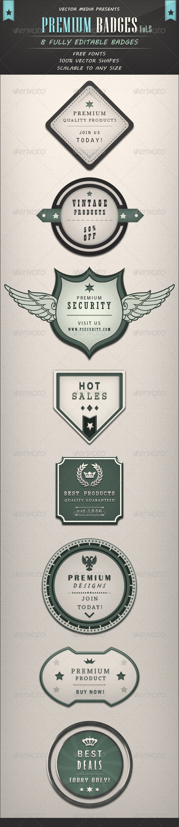GraphicRiver Premium Badges Vol.5 3517214
