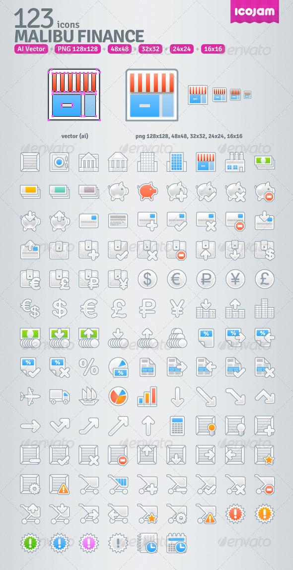 GraphicRiver 123 AI Malibu Finance icons 3545736