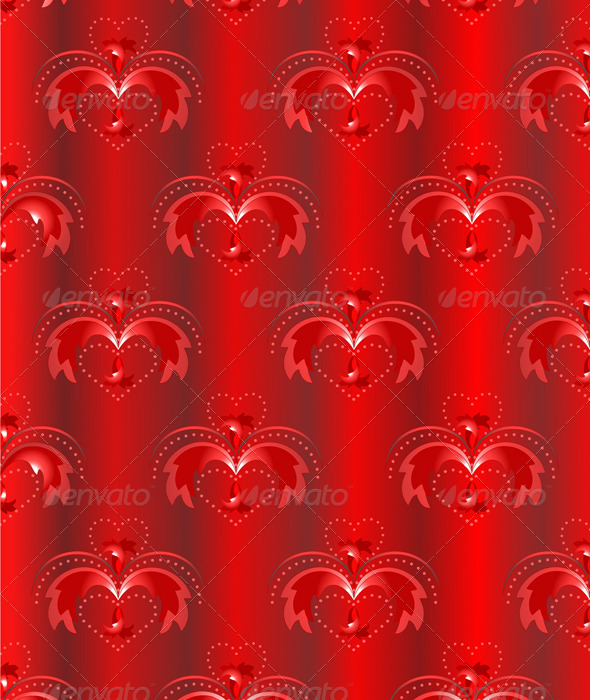 GraphicRiver Red Satin Background with Oriental Pattern 3545744